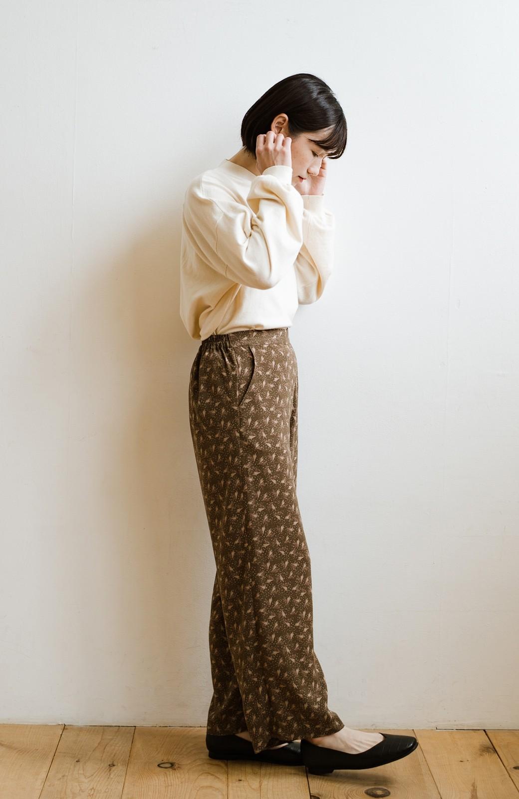 haco! 1枚でも重ね着でもパッと着映えする すっきりシルエットの大人の柄パンツ <ブラウン>の商品写真24