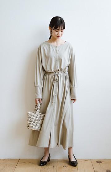 haco! デニムやスカートを重ねて簡単にこなれて見える 羽織れるドロストワンピース <グレイッシュベージュ>の商品写真