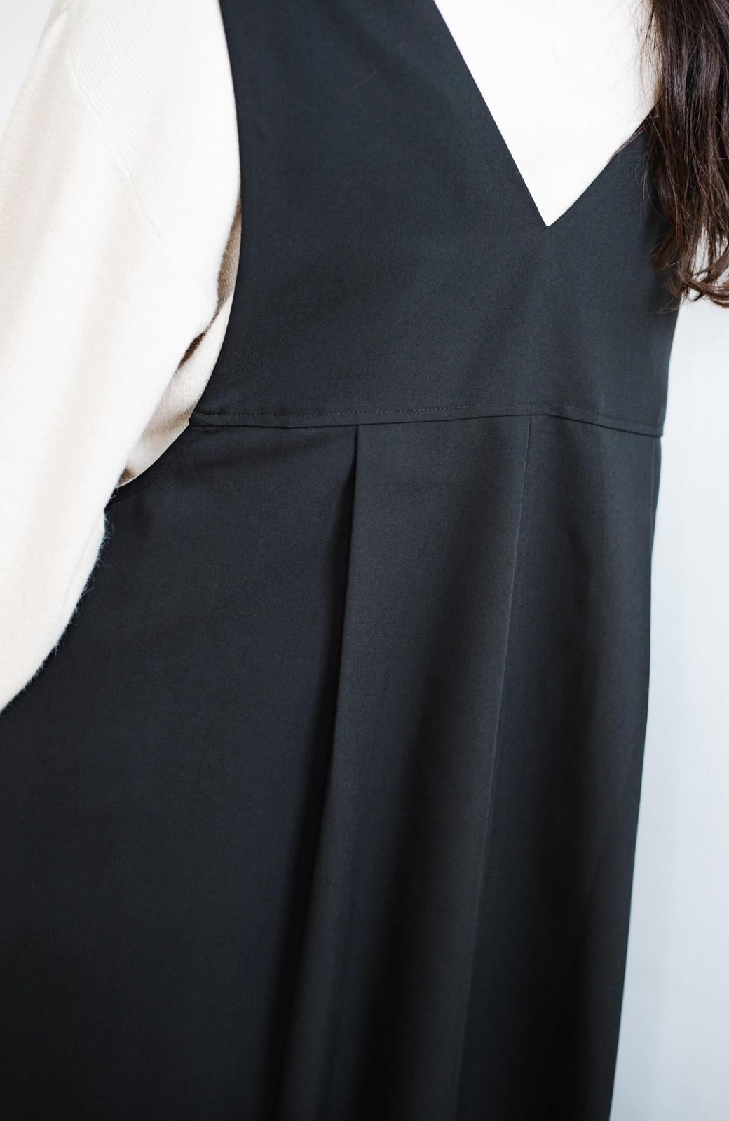 haco! 長め丈登場!Tシャツにもニットにもずーーーっと着られて便利なジャンパースカート <ブラック>の商品写真6