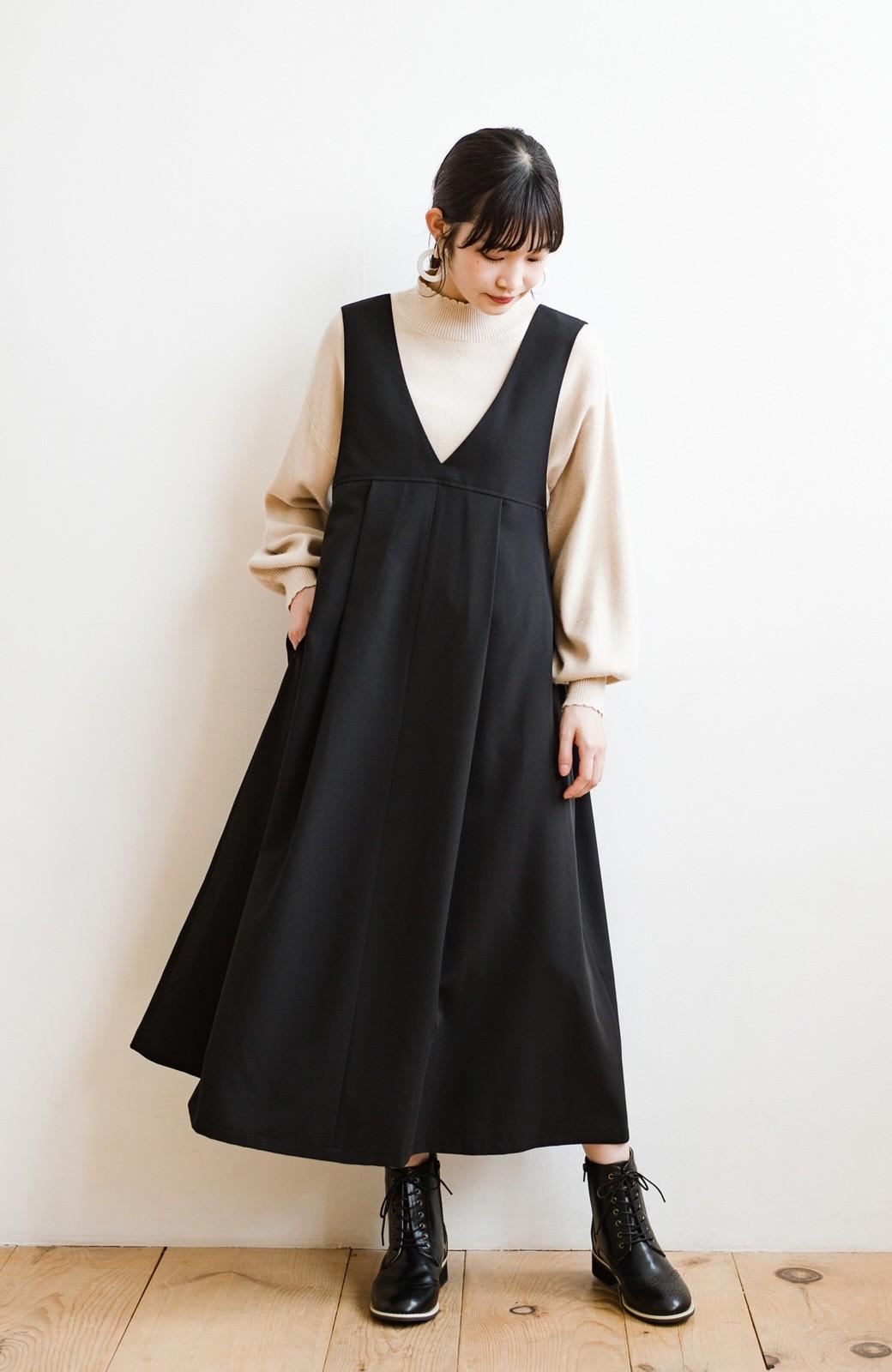 haco! 長め丈登場!Tシャツにもニットにもずーーーっと着られて便利なジャンパースカート <ブラック>の商品写真1