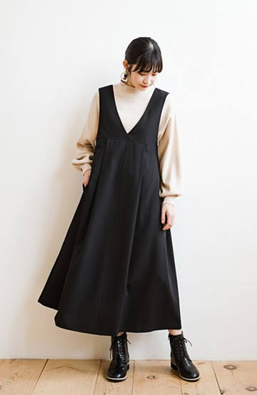 haco! 長め丈登場!Tシャツにもニットにもずーーーっと着られて便利なジャンパースカート<ブラック>の商品写真
