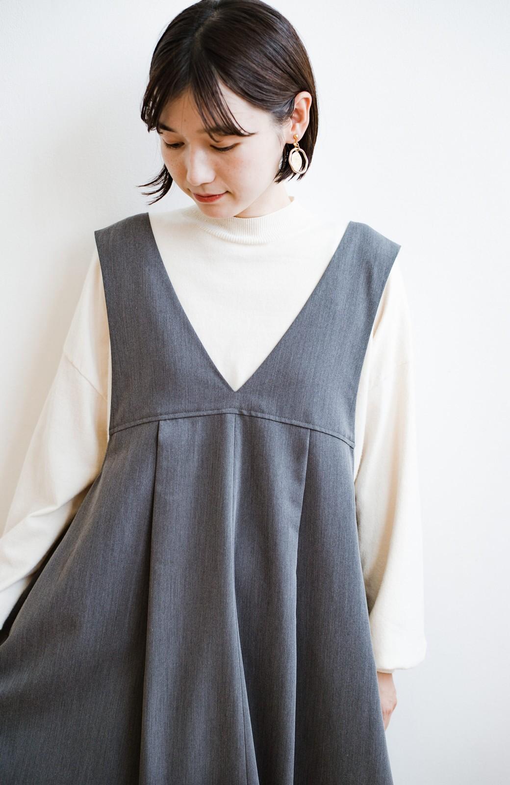 haco! 長め丈登場!Tシャツにもニットにもずーーーっと着られて便利なジャンパースカート <グレー>の商品写真3