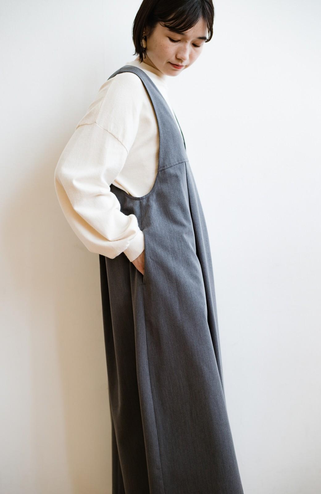 haco! 長め丈登場!Tシャツにもニットにもずーーーっと着られて便利なジャンパースカート <グレー>の商品写真11