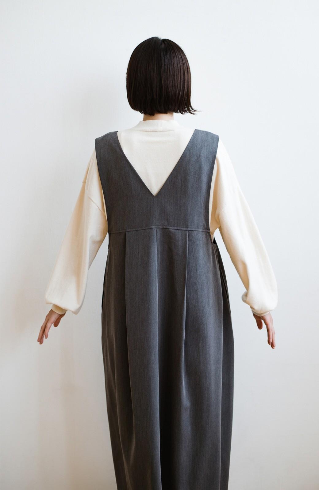 haco! 長め丈登場!Tシャツにもニットにもずーーーっと着られて便利なジャンパースカート <グレー>の商品写真12