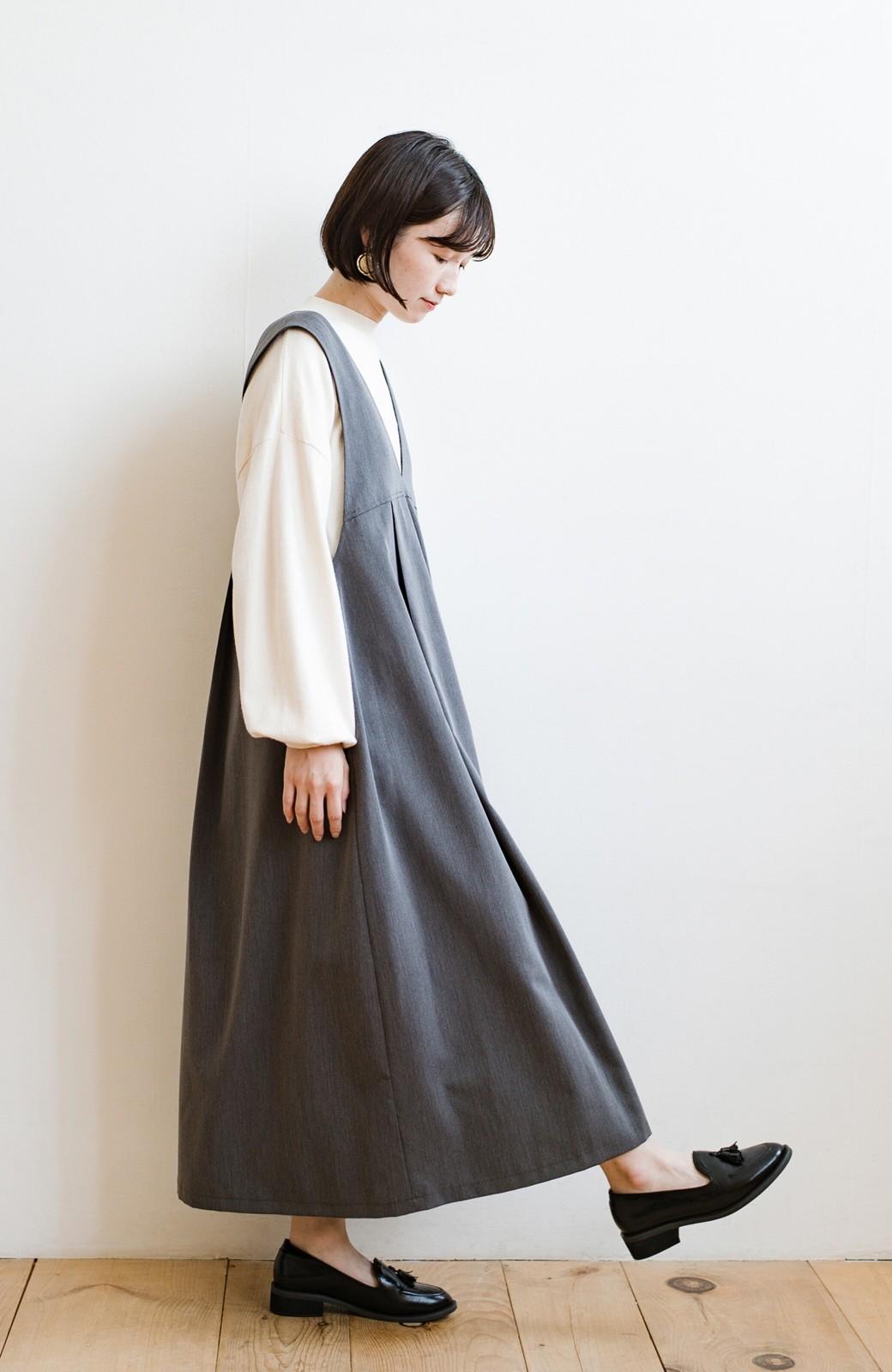 haco! 長め丈登場!Tシャツにもニットにもずーーーっと着られて便利なジャンパースカート <グレー>の商品写真8