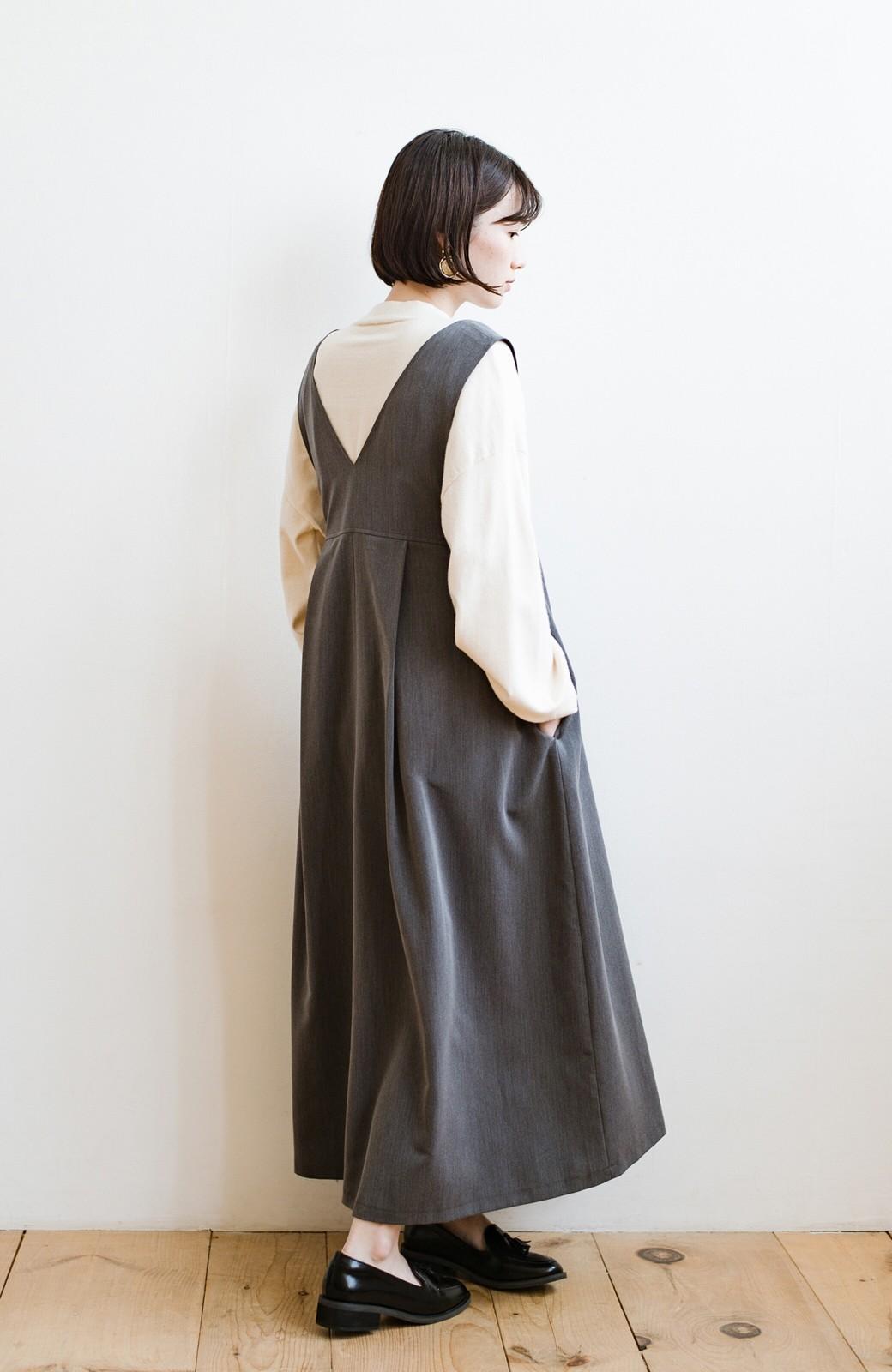 haco! 長め丈登場!Tシャツにもニットにもずーーーっと着られて便利なジャンパースカート <グレー>の商品写真10