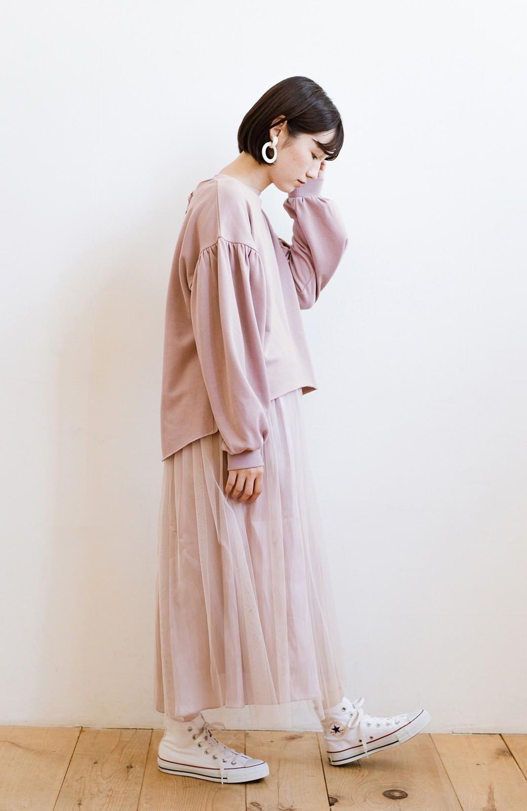 haco! 脱部屋着感!楽ちんなのにかわいげたっぷり 甘めディテールのボリュームスウェット <ピンク>の商品写真10
