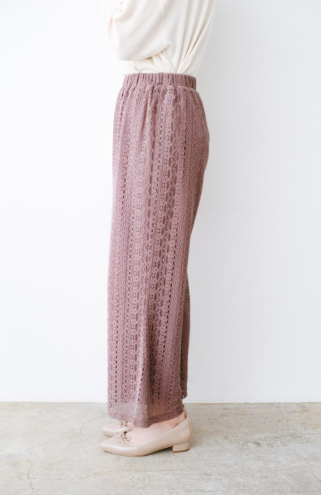 haco! パンツスタイルも女っぽく華やかにきまる 甘さ控えめ柄が着やすいフレアーレースパンツ <ピンク>の商品写真7