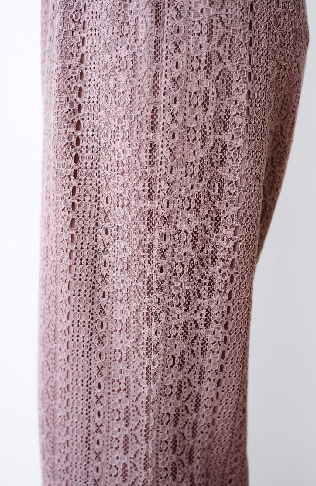 haco! パンツスタイルも女っぽく華やかにきまる 甘さ控えめ柄が着やすいフレアーレースパンツ <ピンク>の商品写真4