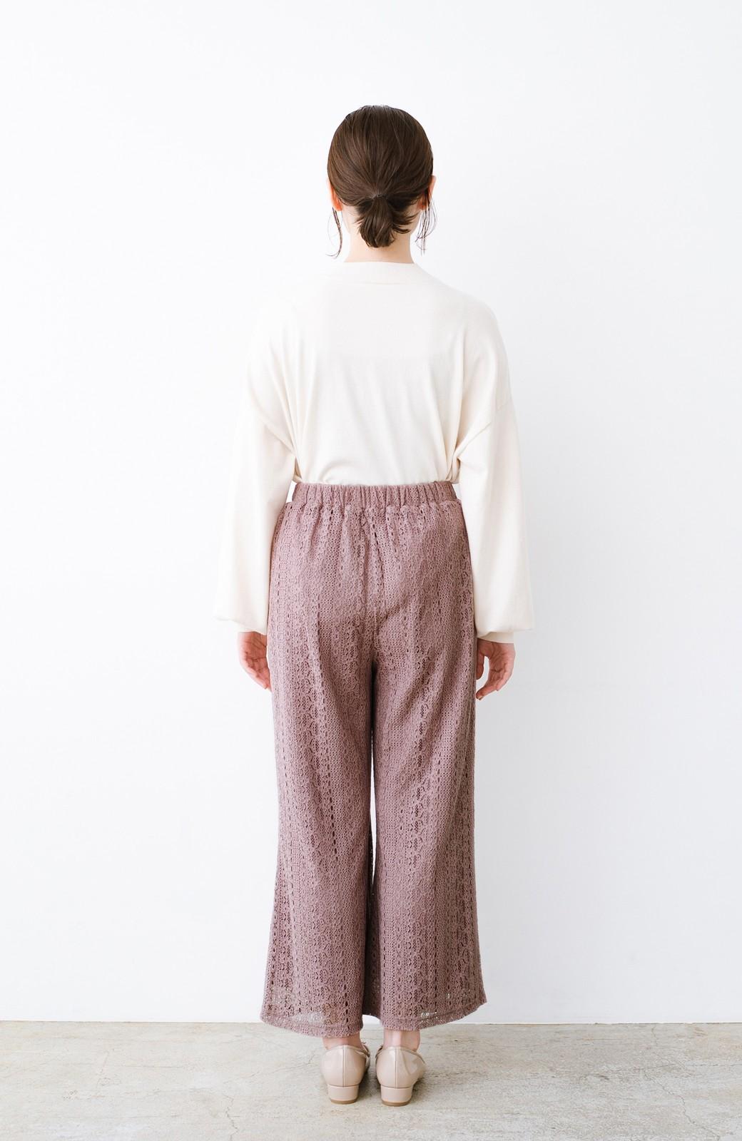 haco! パンツスタイルも女っぽく華やかにきまる 甘さ控えめ柄が着やすいフレアーレースパンツ <ピンク>の商品写真13
