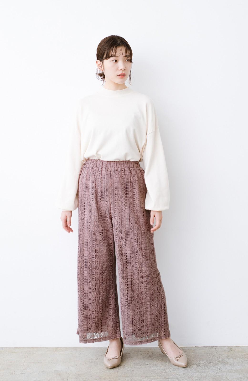 haco! パンツスタイルも女っぽく華やかにきまる 甘さ控えめ柄が着やすいフレアーレースパンツ <ピンク>の商品写真9