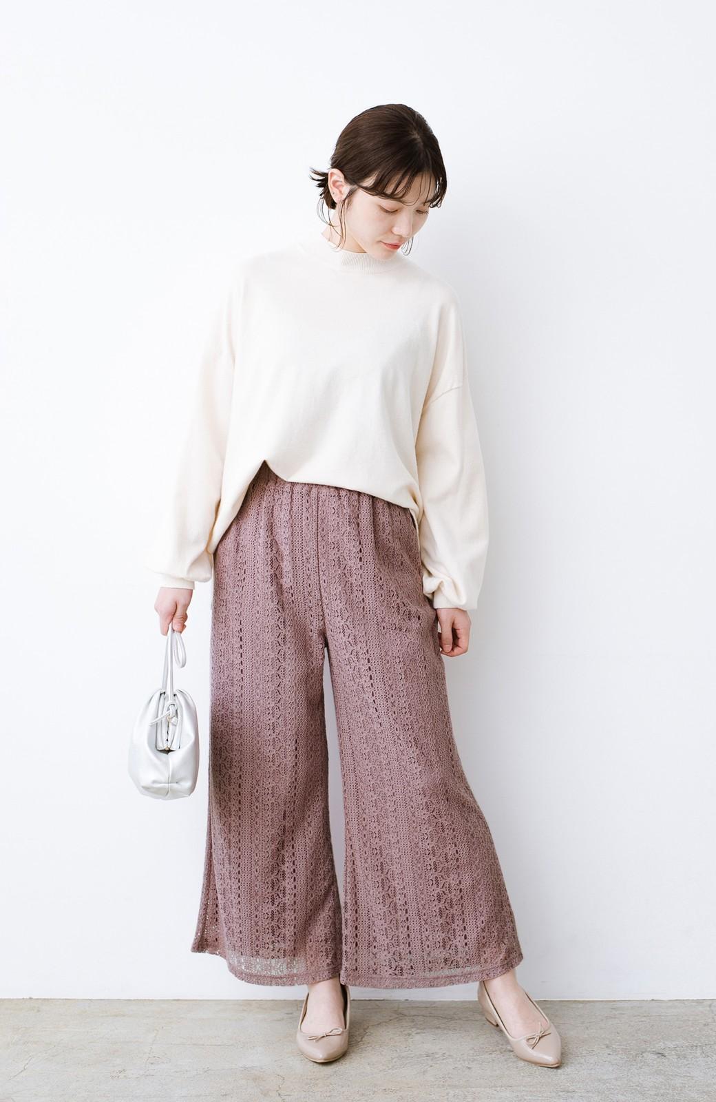 haco! パンツスタイルも女っぽく華やかにきまる 甘さ控えめ柄が着やすいフレアーレースパンツ <ピンク>の商品写真10