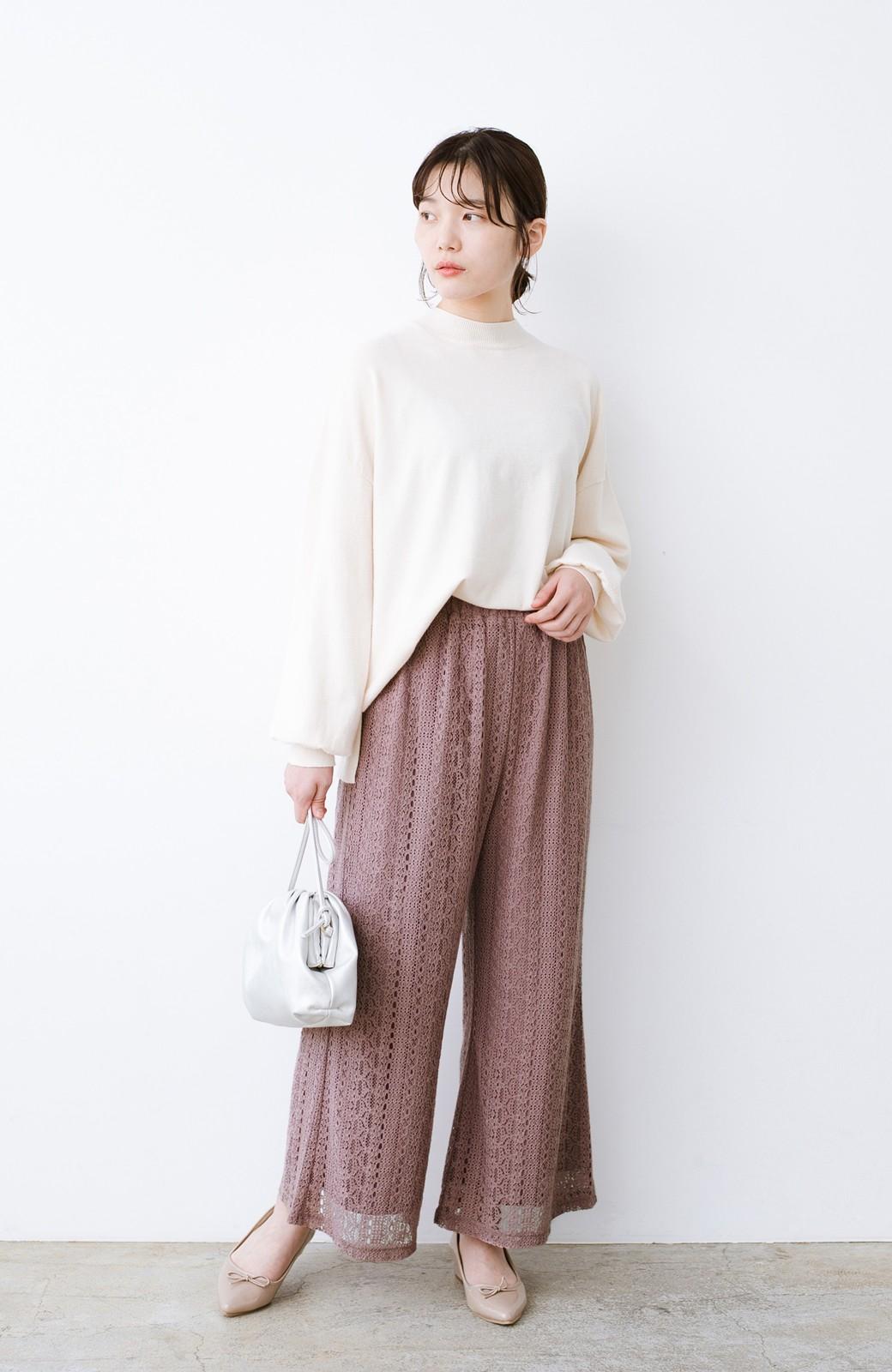 haco! パンツスタイルも女っぽく華やかにきまる 甘さ控えめ柄が着やすいフレアーレースパンツ <ピンク>の商品写真11