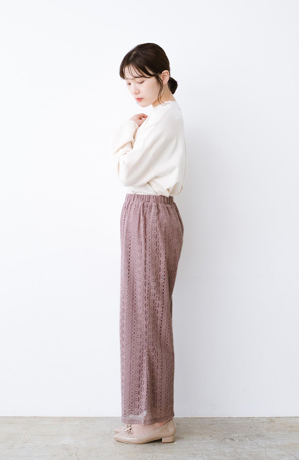 haco! パンツスタイルも女っぽく華やかにきまる 甘さ控えめ柄が着やすいフレアーレースパンツ <ピンク>の商品写真12