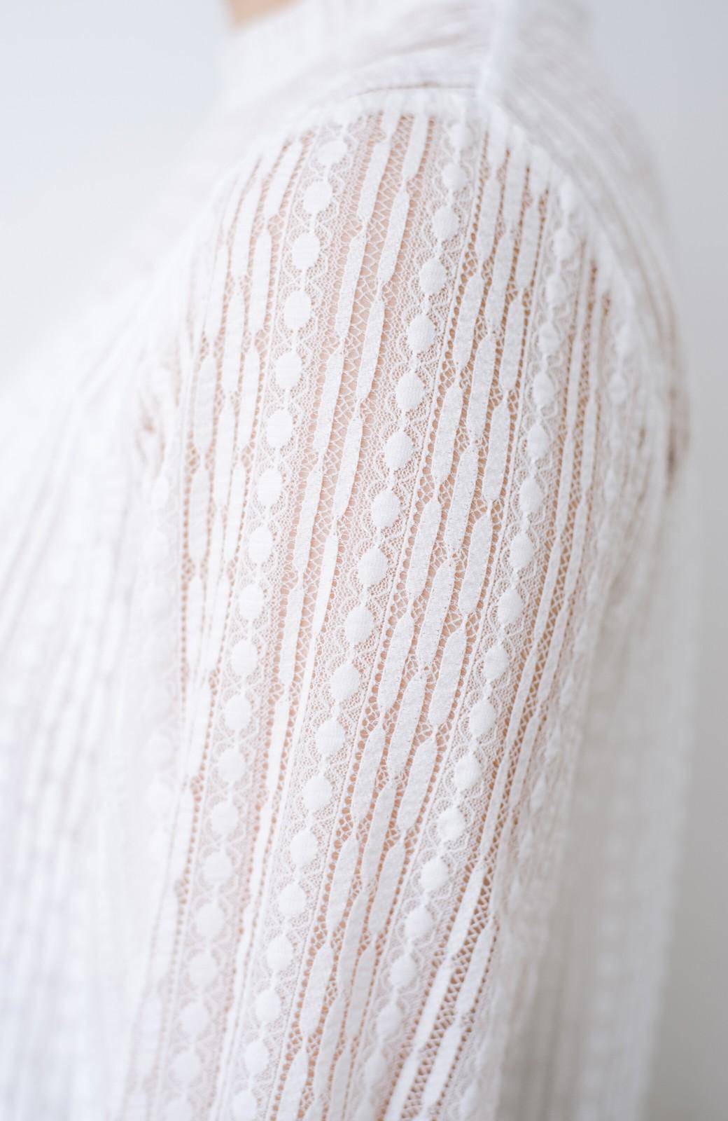 haco! 季節の変わり目や重ね着にも便利なやわらかレーストップス <ホワイト>の商品写真10