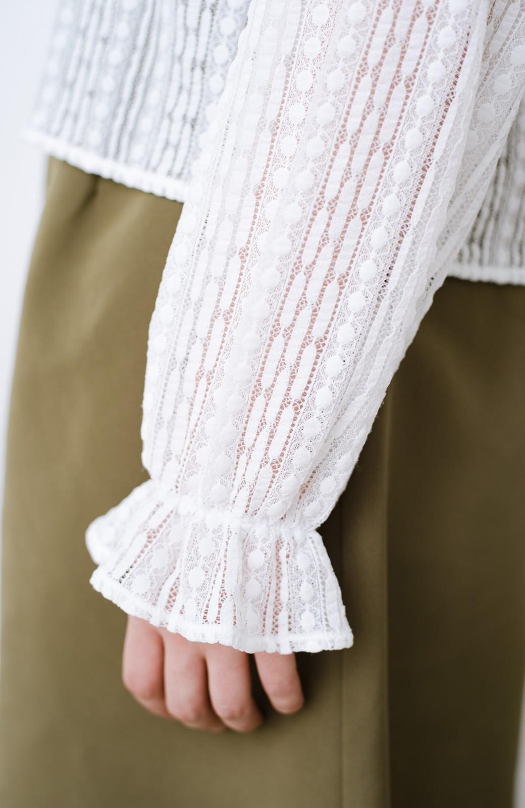 haco! 季節の変わり目や重ね着にも便利なやわらかレーストップス <ホワイト>の商品写真7