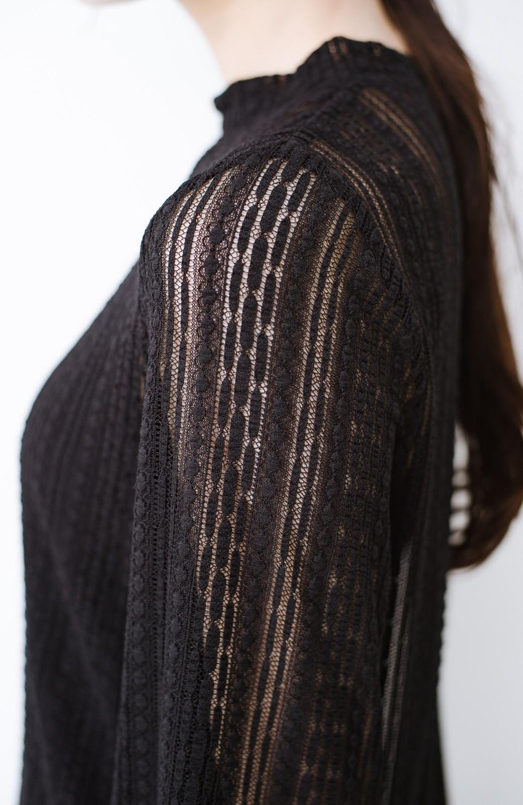 haco! 季節の変わり目や重ね着にも便利なやわらかレーストップス <ブラック>の商品写真5