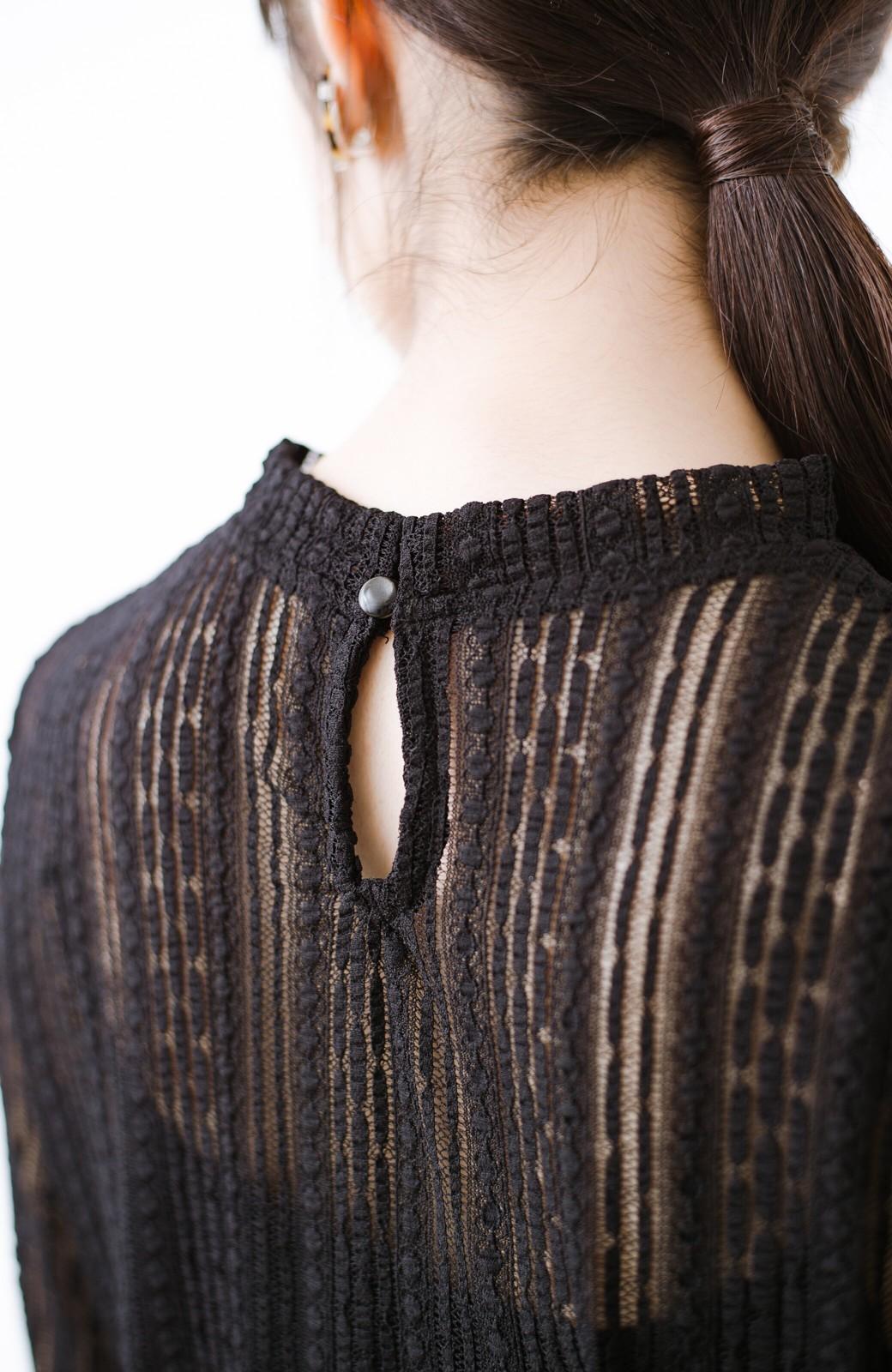 haco! 季節の変わり目や重ね着にも便利なやわらかレーストップス <ブラック>の商品写真6
