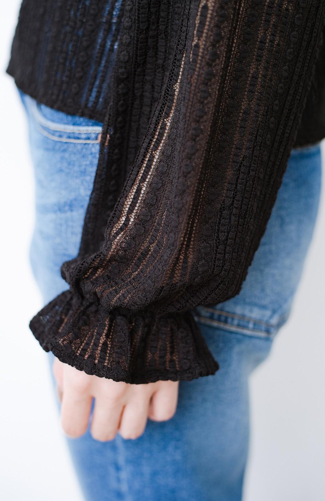 haco! 季節の変わり目や重ね着にも便利なやわらかレーストップス <ブラック>の商品写真7