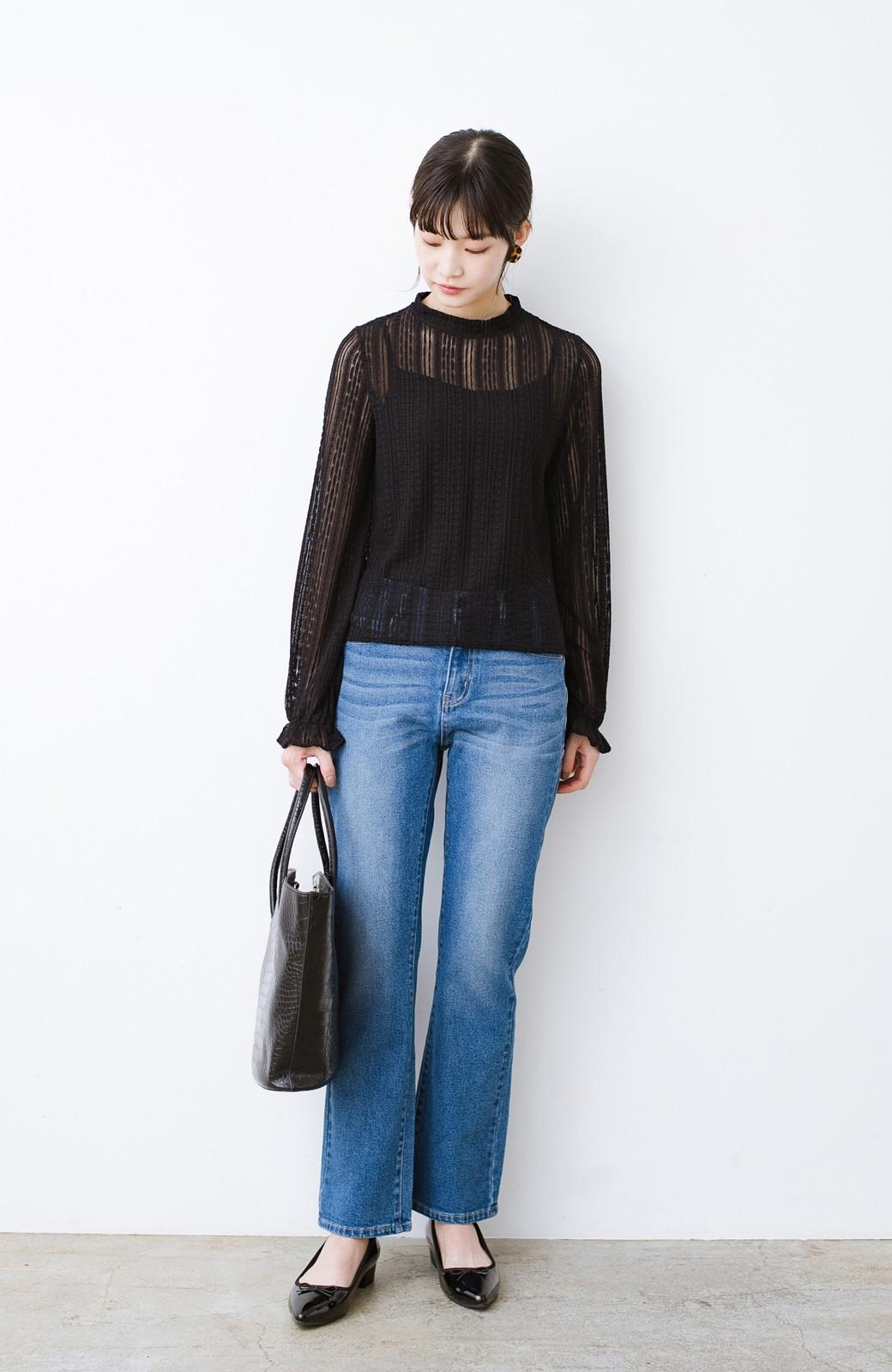 haco! 季節の変わり目や重ね着にも便利なやわらかレーストップス <ブラック>の商品写真9