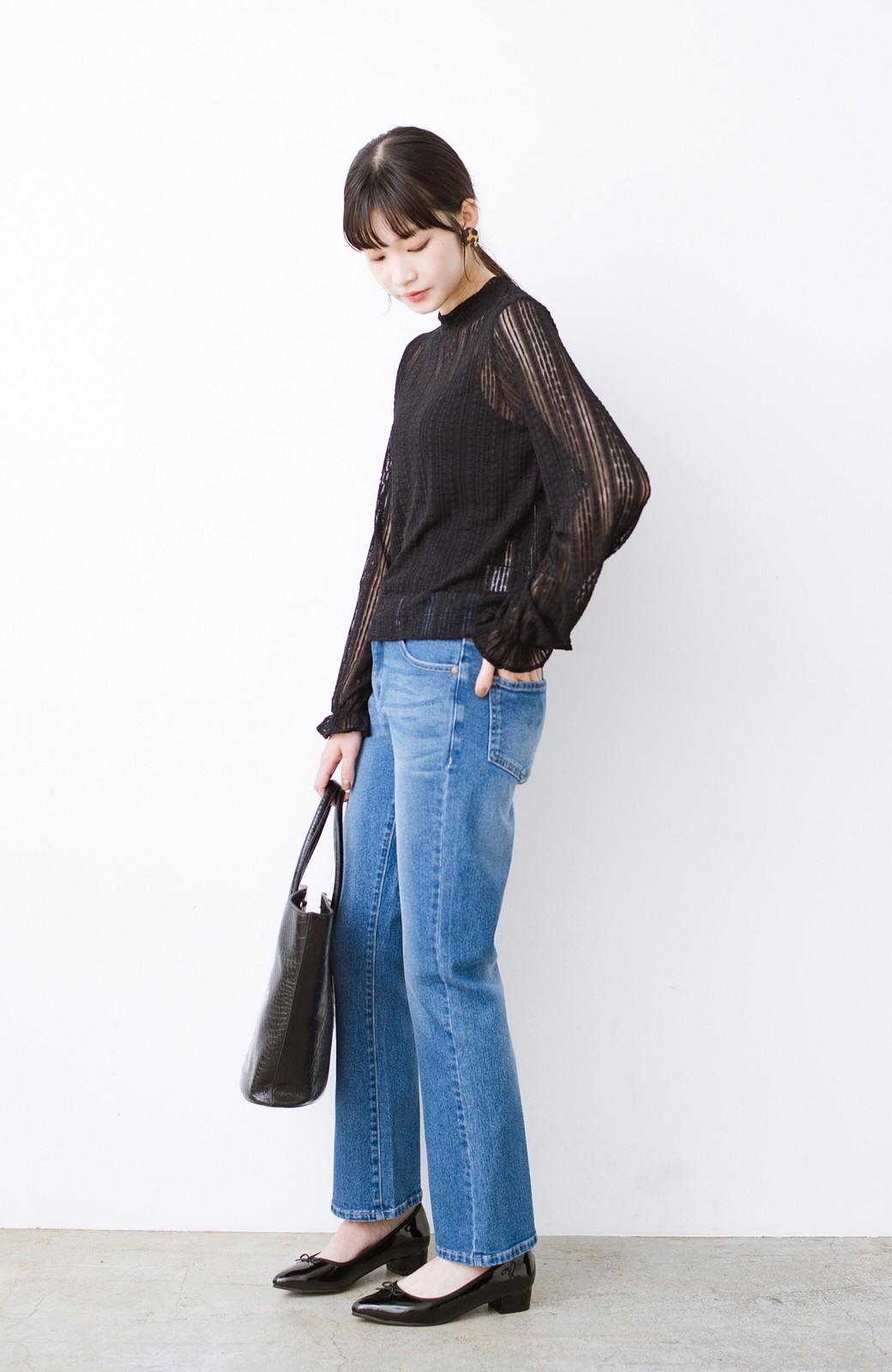 haco! 季節の変わり目や重ね着にも便利なやわらかレーストップス <ブラック>の商品写真10