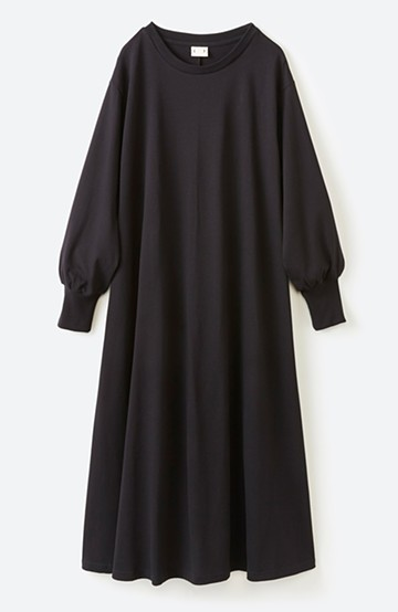 haco! 1枚で完璧シルエット!ぽんわり袖がかわいい楽ちんカットソーワンピース <ブラック>の商品写真