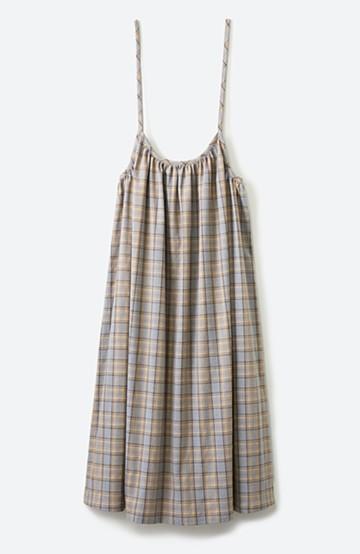 haco! Tシャツからニットまで長ーーい季節着られる便利なチェックキャミワンピース <グレー系その他>の商品写真