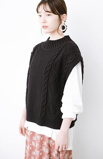 haco! シンプルトップスに重ねて今っぽ ケーブル編みが女の子らしいニットベスト <ブラック>の商品写真