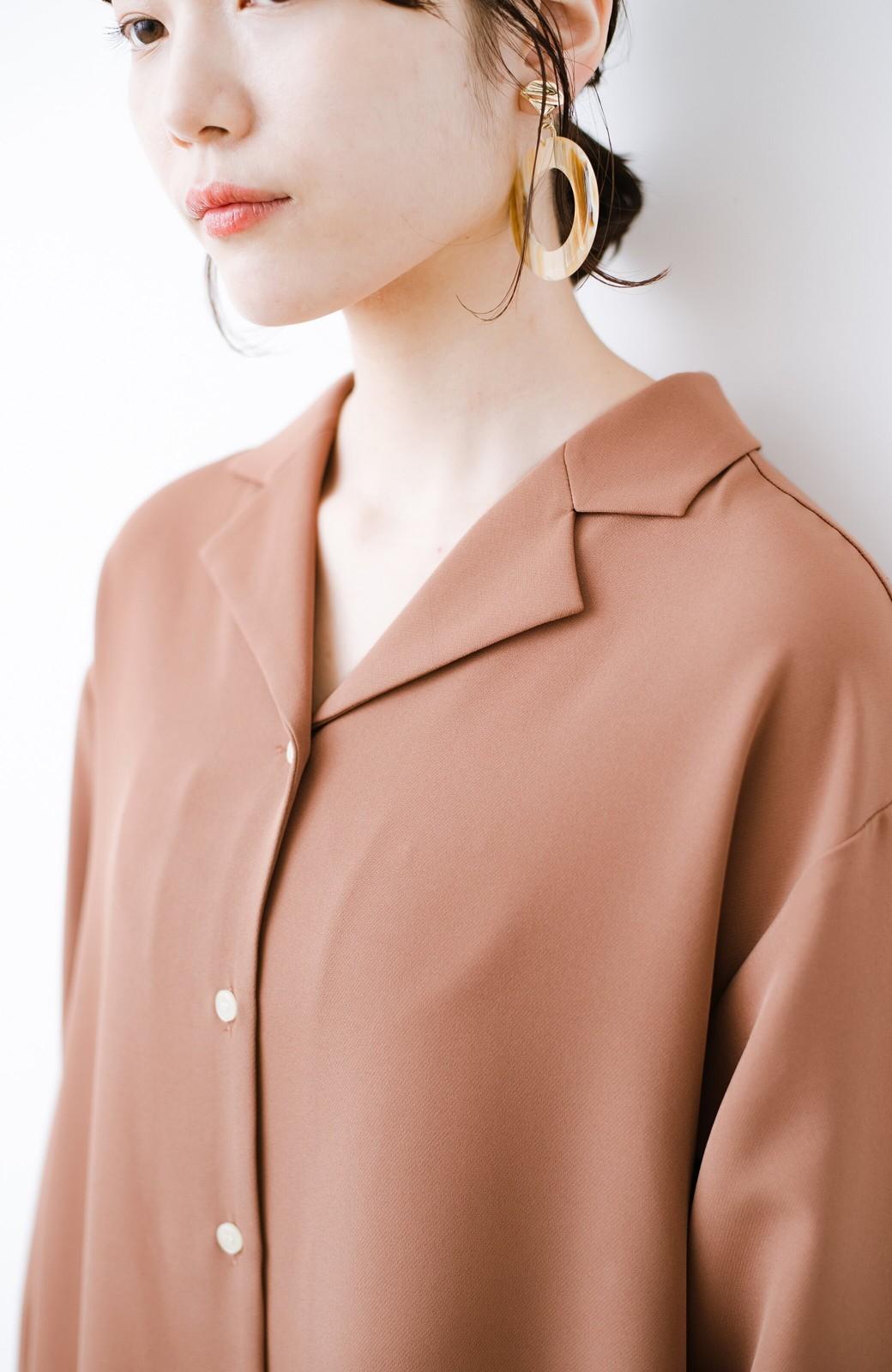 haco! 羽織っても1枚でも重ね着でも!着まわし自由自在なAラインシャツワンピース <ブラウン>の商品写真4