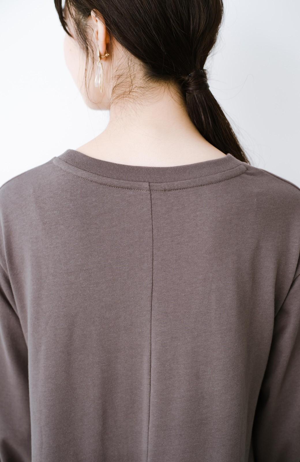haco! 1枚で完璧シルエット!ぽんわり袖がかわいい楽ちんカットソーワンピース <ブラウン>の商品写真3