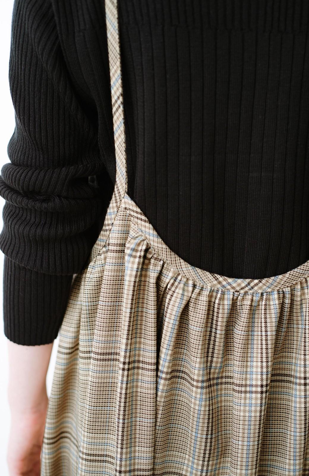 haco! Tシャツからニットまで長ーーい季節着られる便利なチェックキャミワンピース <ベージュ系その他>の商品写真6