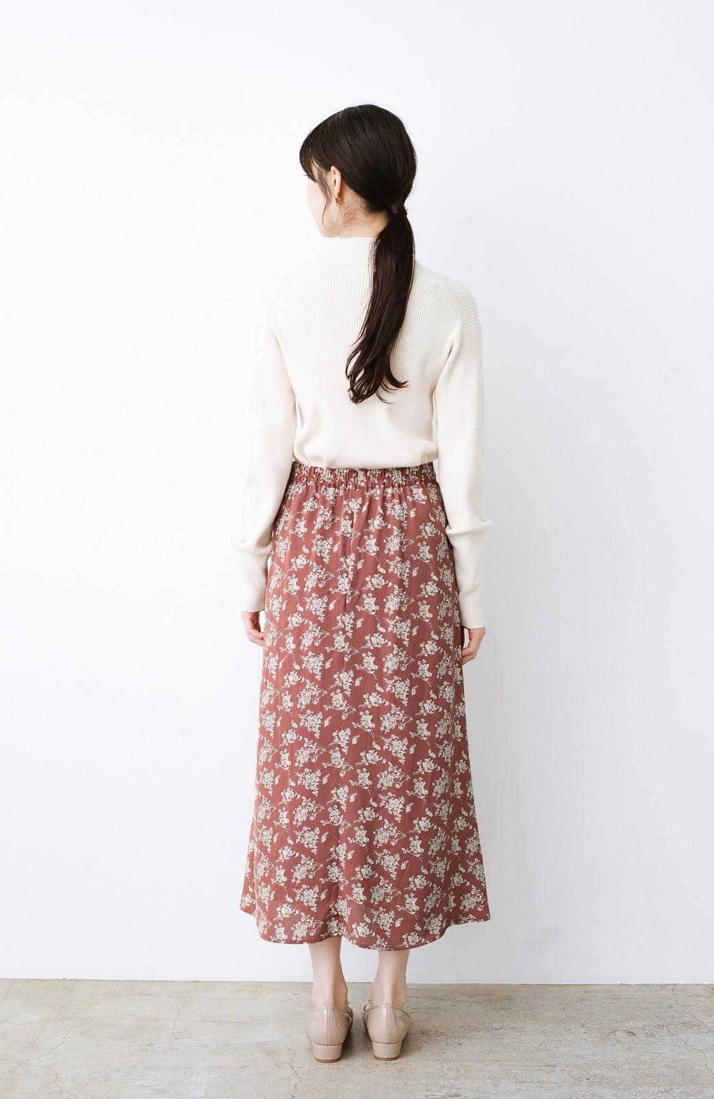 haco! シンプルトップスを合わせるだけで印象アップ間違いなしの花柄ロングフレアースカート <ピンク>の商品写真15