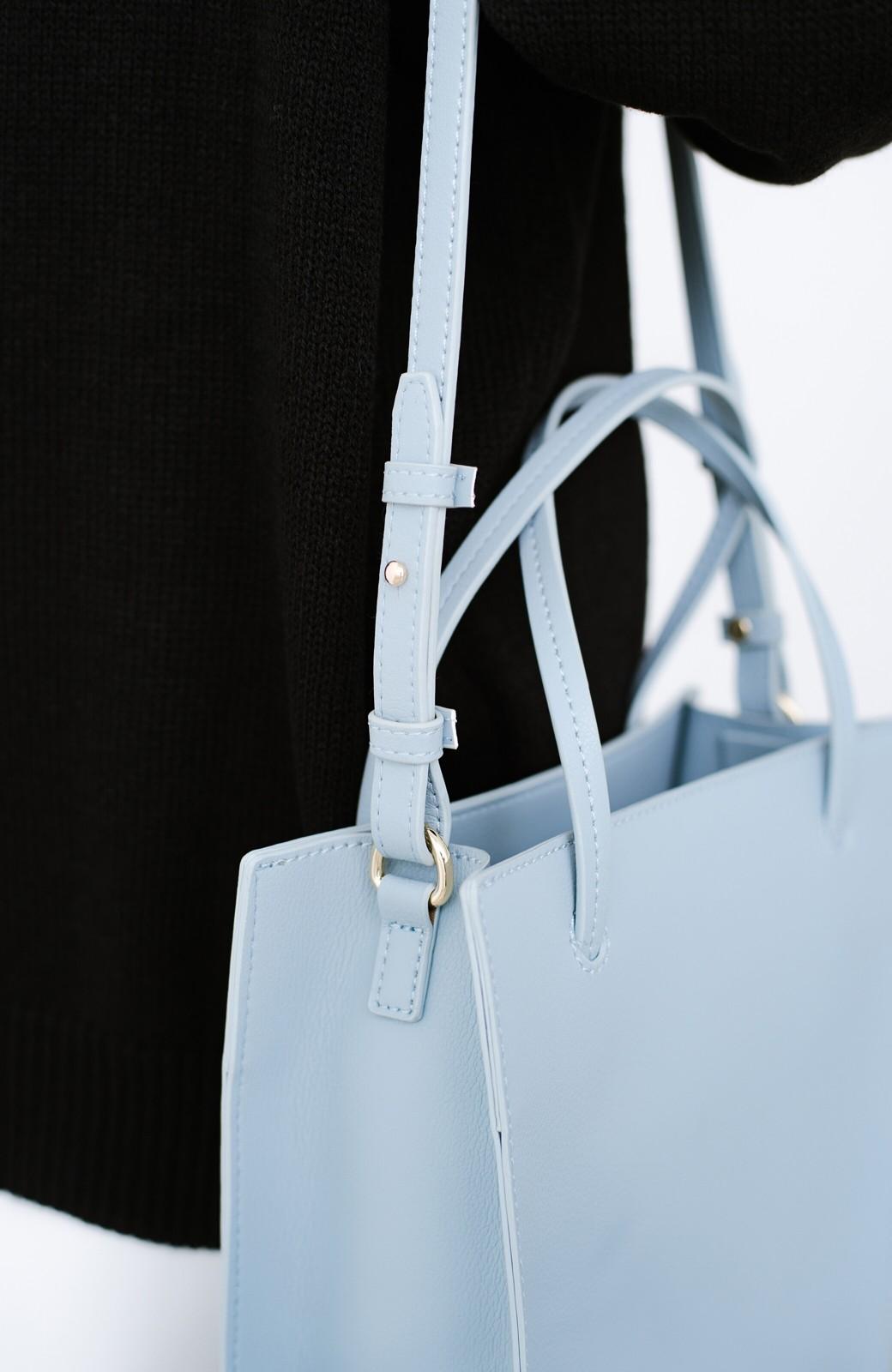 haco! 毎日の相棒!必需品はしっかり入ってコンパクトサイズが可愛い2WAYトートバッグ <ライトブルー>の商品写真8