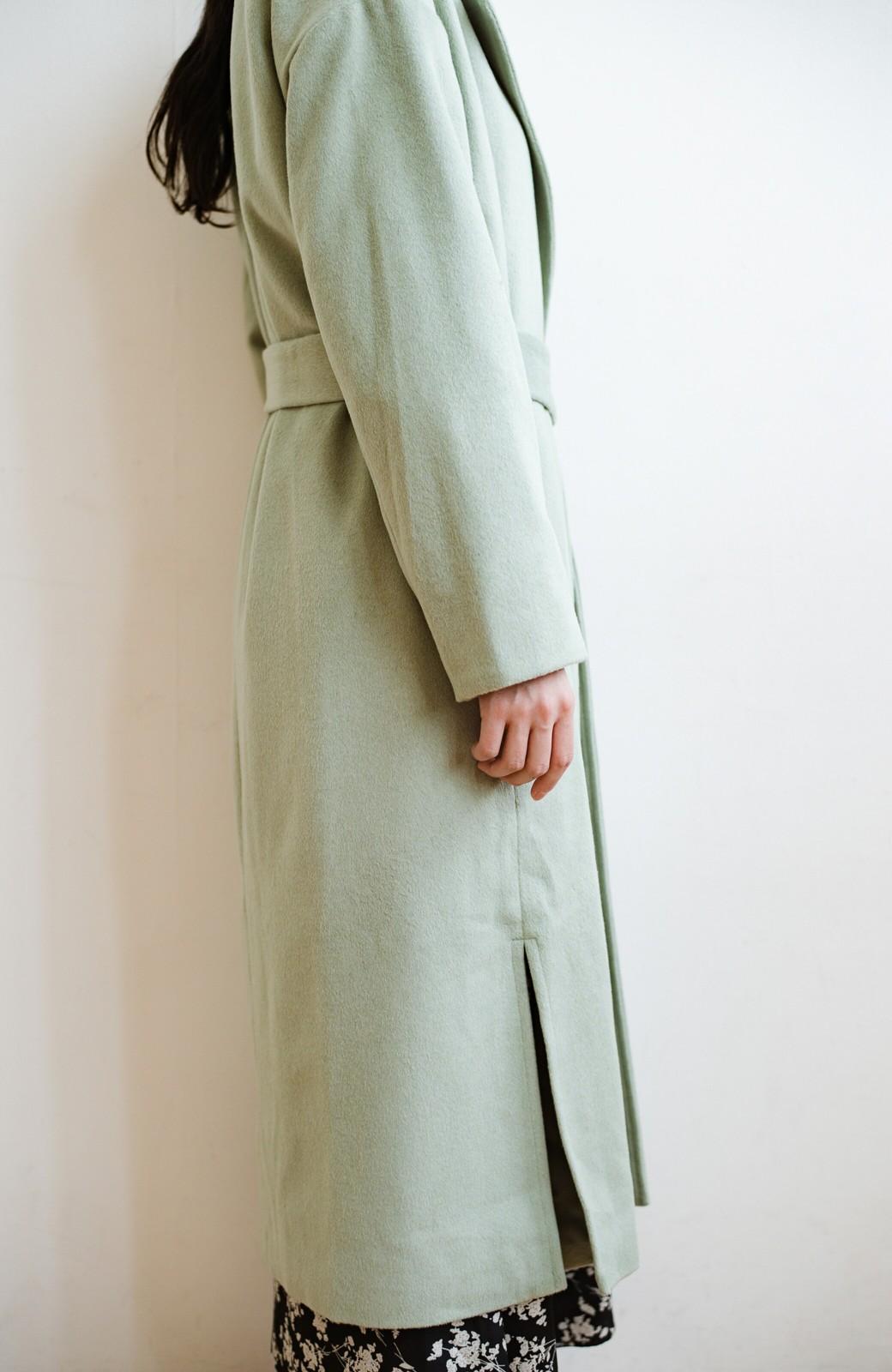 haco! 冬の地味コーデ脱出! さっと羽織って女っぽいきれい色ガウンコート <ミント>の商品写真5