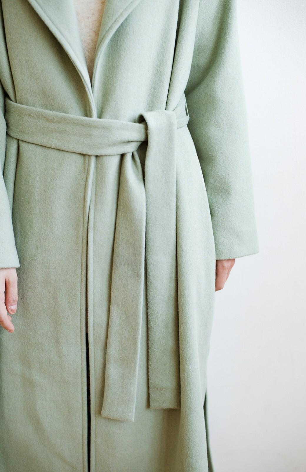 haco! 冬の地味コーデ脱出! さっと羽織って女っぽいきれい色ガウンコート <ミント>の商品写真6