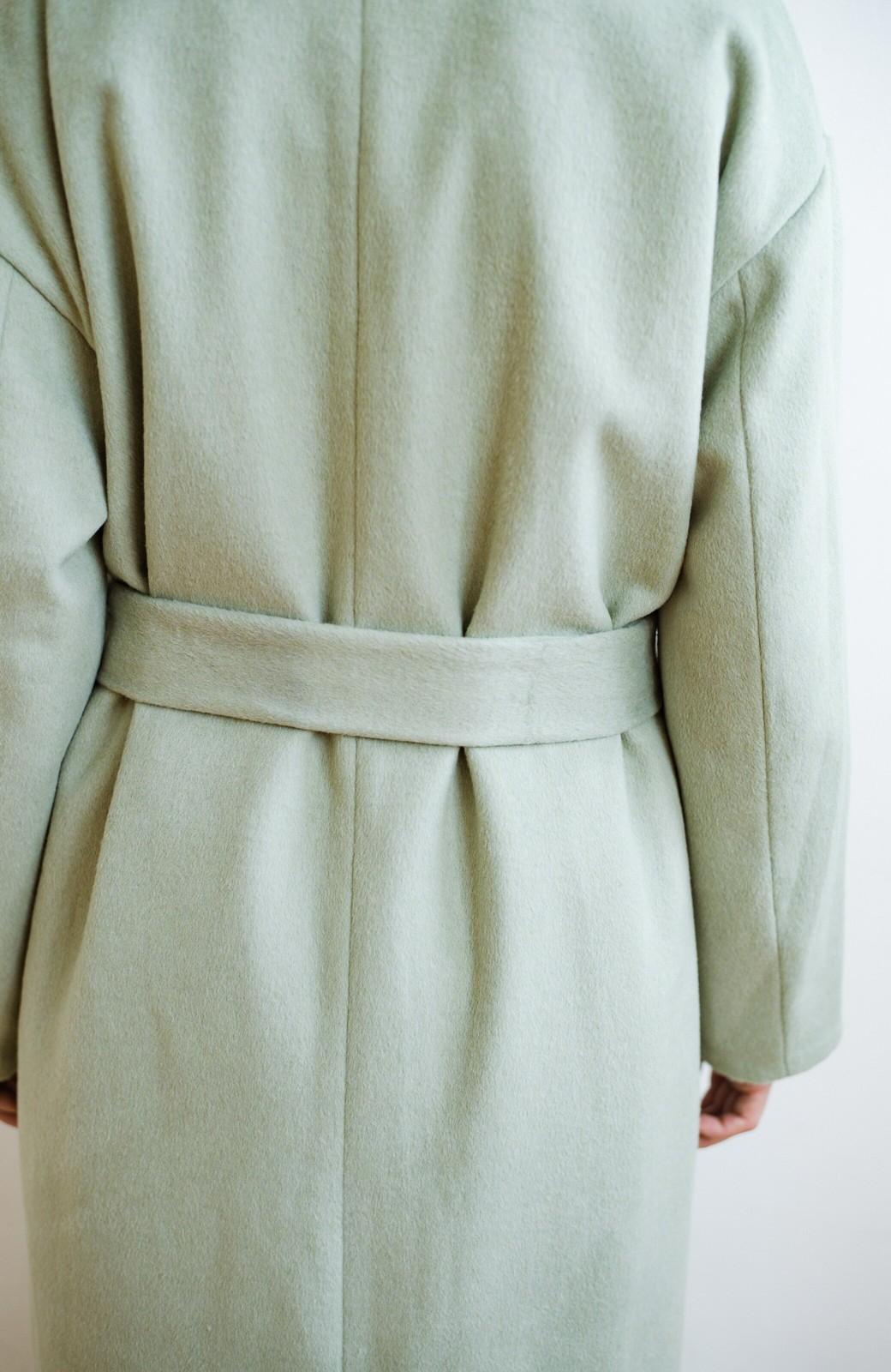 haco! 冬の地味コーデ脱出! さっと羽織って女っぽいきれい色ガウンコート <ミント>の商品写真7