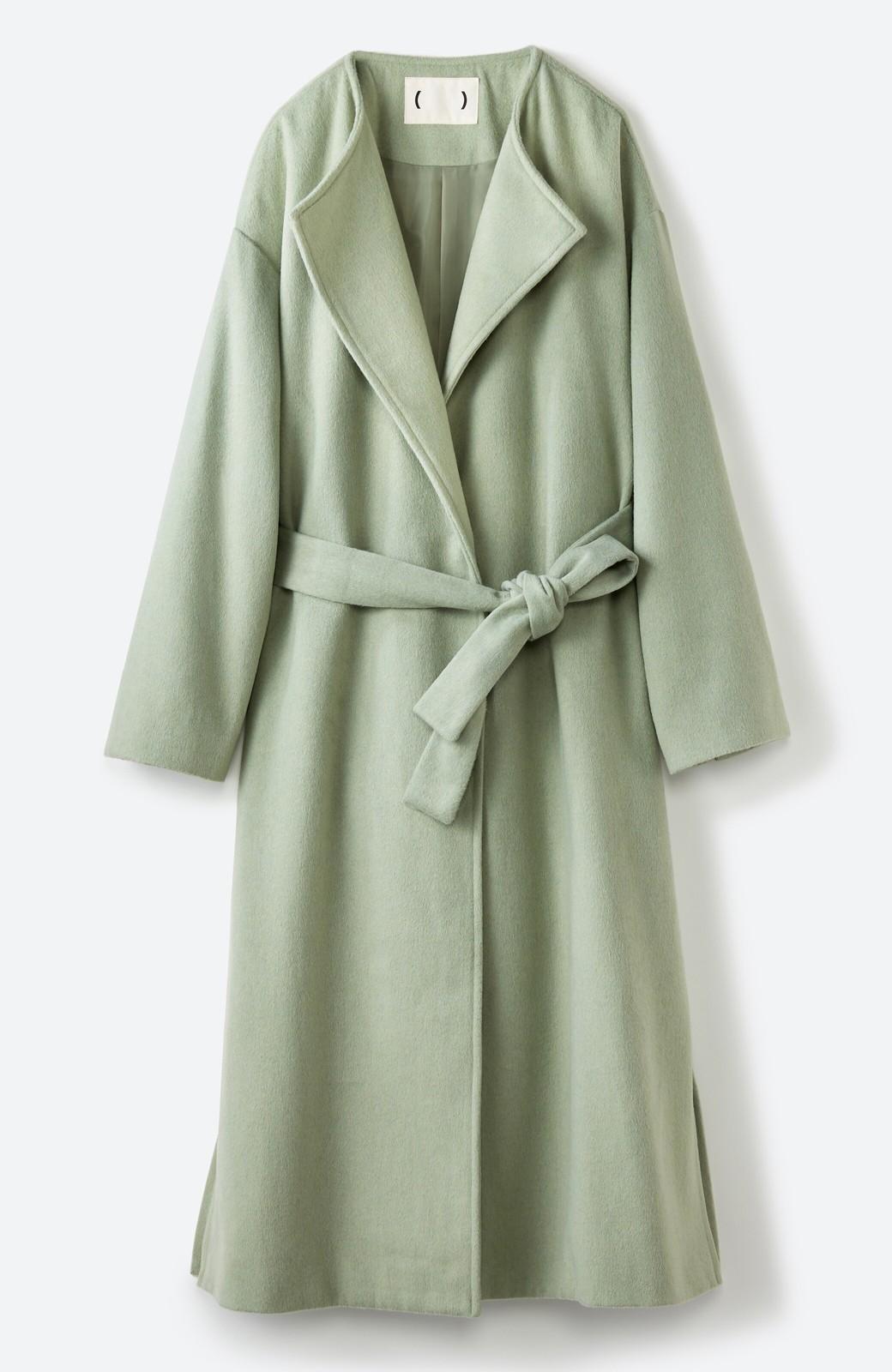 haco! 冬の地味コーデ脱出! さっと羽織って女っぽいきれい色ガウンコート <ミント>の商品写真26