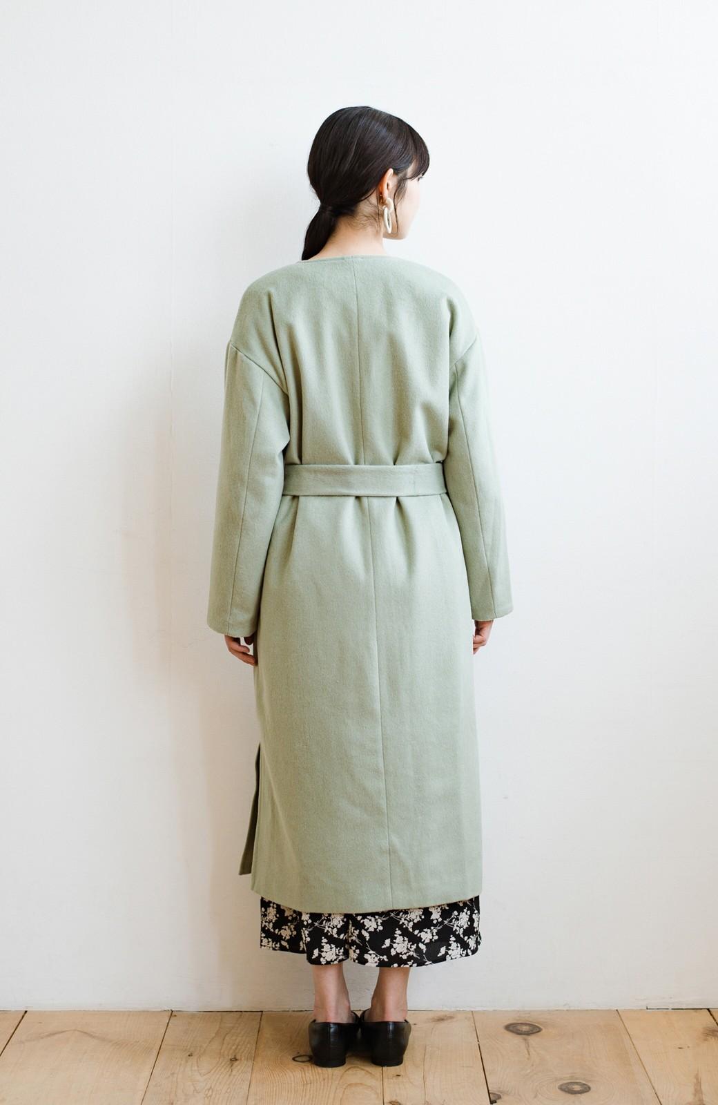 haco! 冬の地味コーデ脱出! さっと羽織って女っぽいきれい色ガウンコート <ミント>の商品写真19