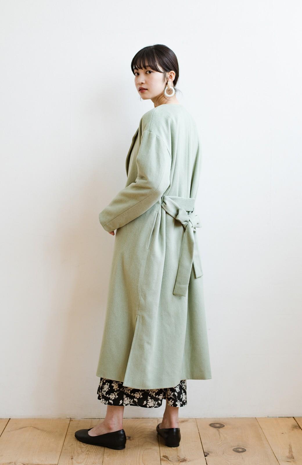 haco! 冬の地味コーデ脱出! さっと羽織って女っぽいきれい色ガウンコート <ミント>の商品写真13