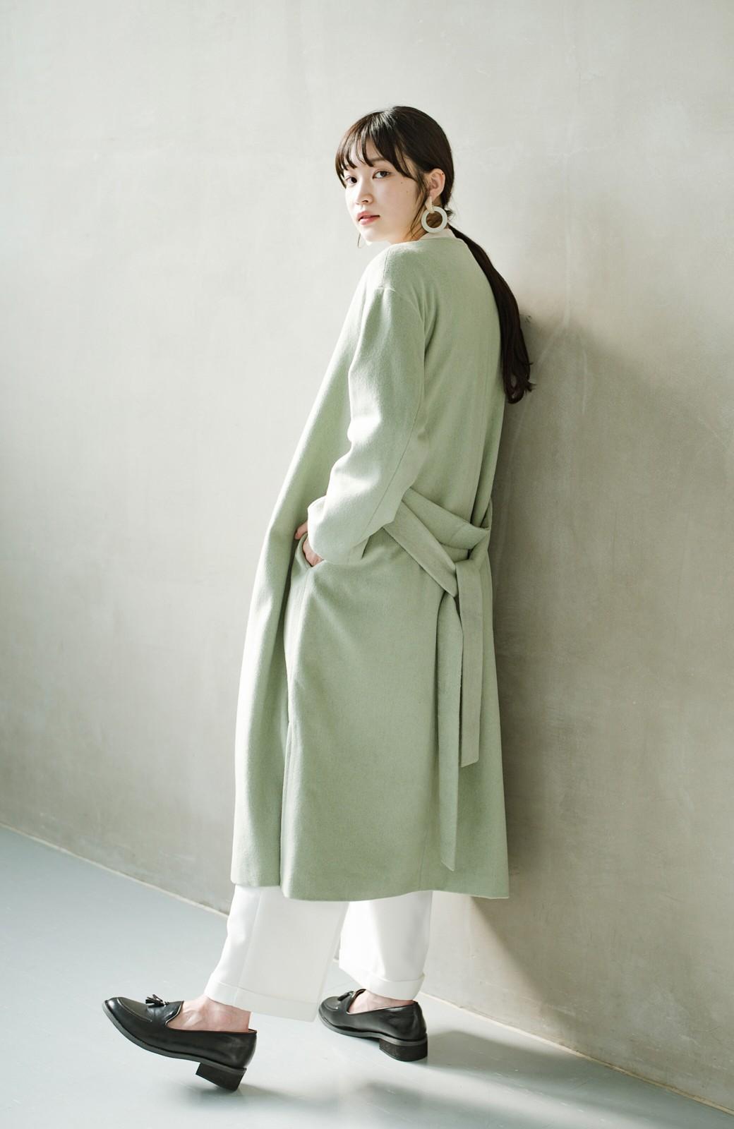 haco! 冬の地味コーデ脱出! さっと羽織って女っぽいきれい色ガウンコート <ミント>の商品写真20