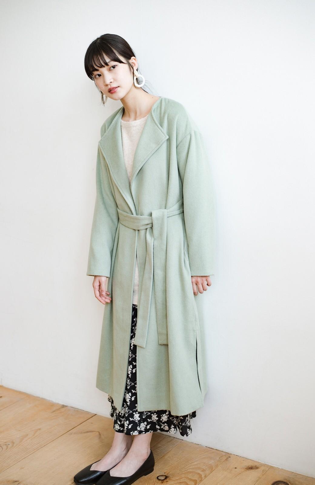 haco! 冬の地味コーデ脱出! さっと羽織って女っぽいきれい色ガウンコート <ミント>の商品写真22