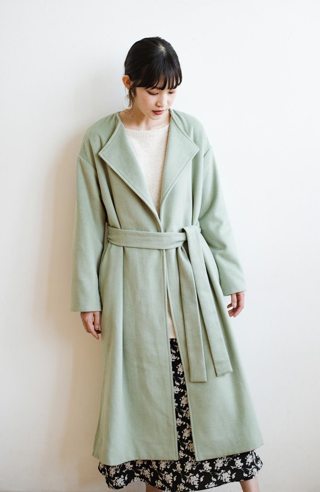 haco! 冬の地味コーデ脱出! さっと羽織って女っぽいきれい色ガウンコート <ミント>の商品写真23