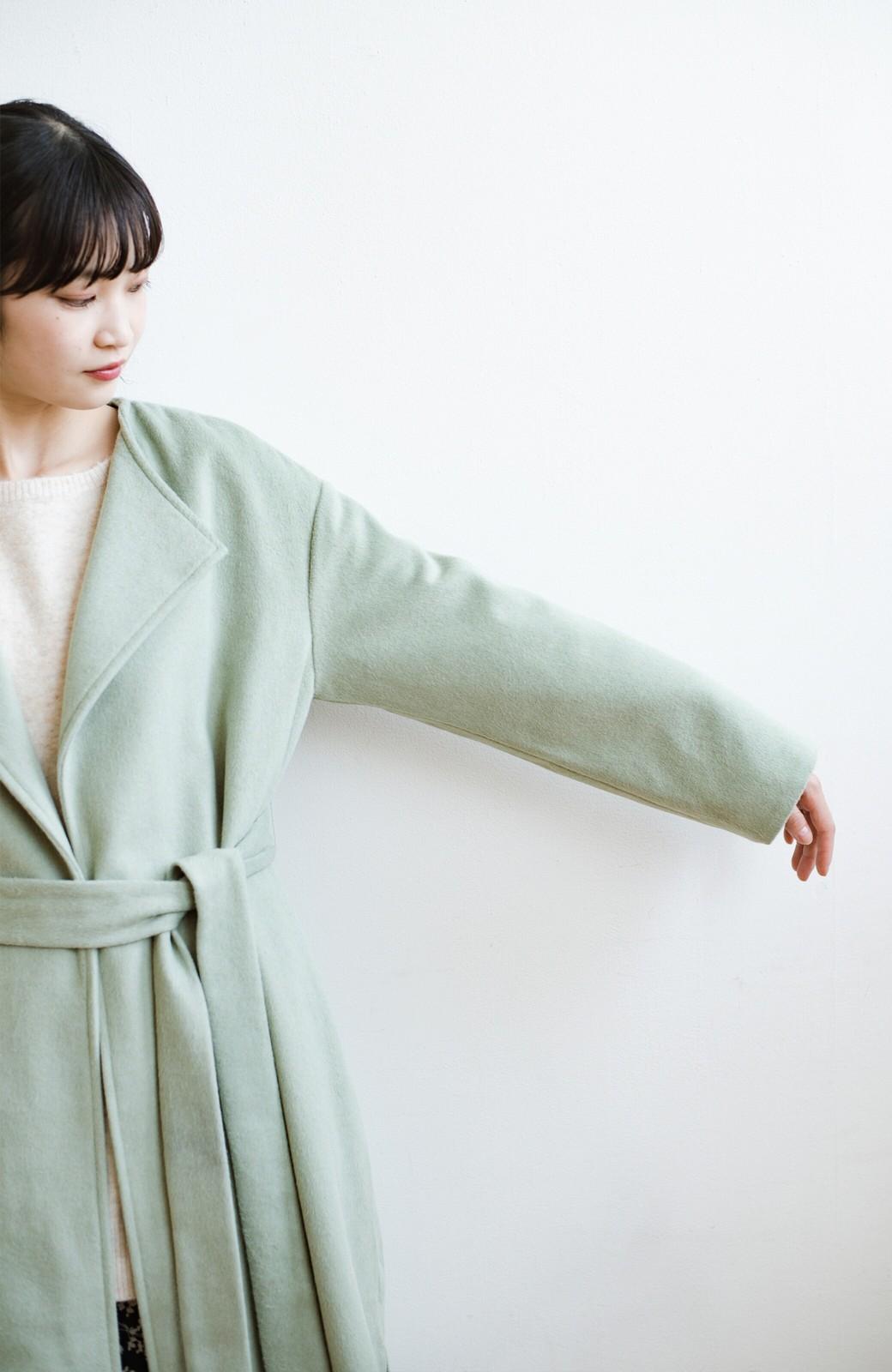 haco! 冬の地味コーデ脱出! さっと羽織って女っぽいきれい色ガウンコート <ミント>の商品写真24