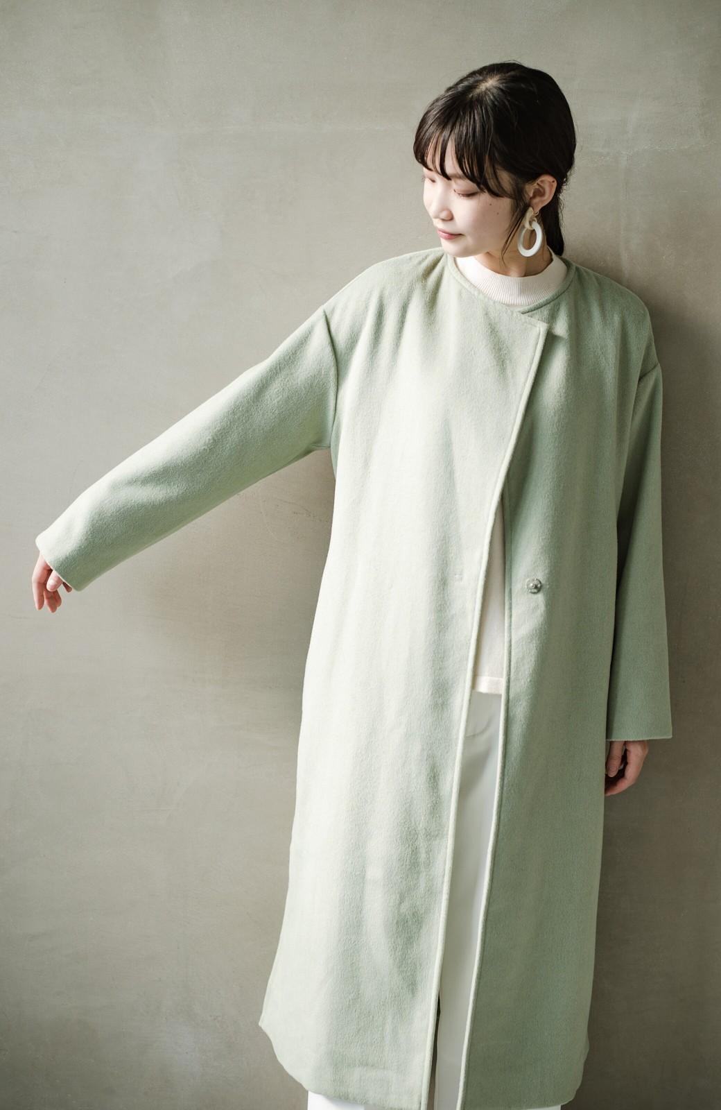 haco! 冬の地味コーデ脱出! さっと羽織って女っぽいきれい色ガウンコート <ミント>の商品写真21
