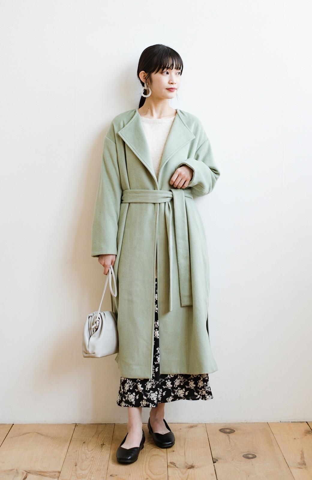 haco! 冬の地味コーデ脱出! さっと羽織って女っぽいきれい色ガウンコート <ミント>の商品写真12