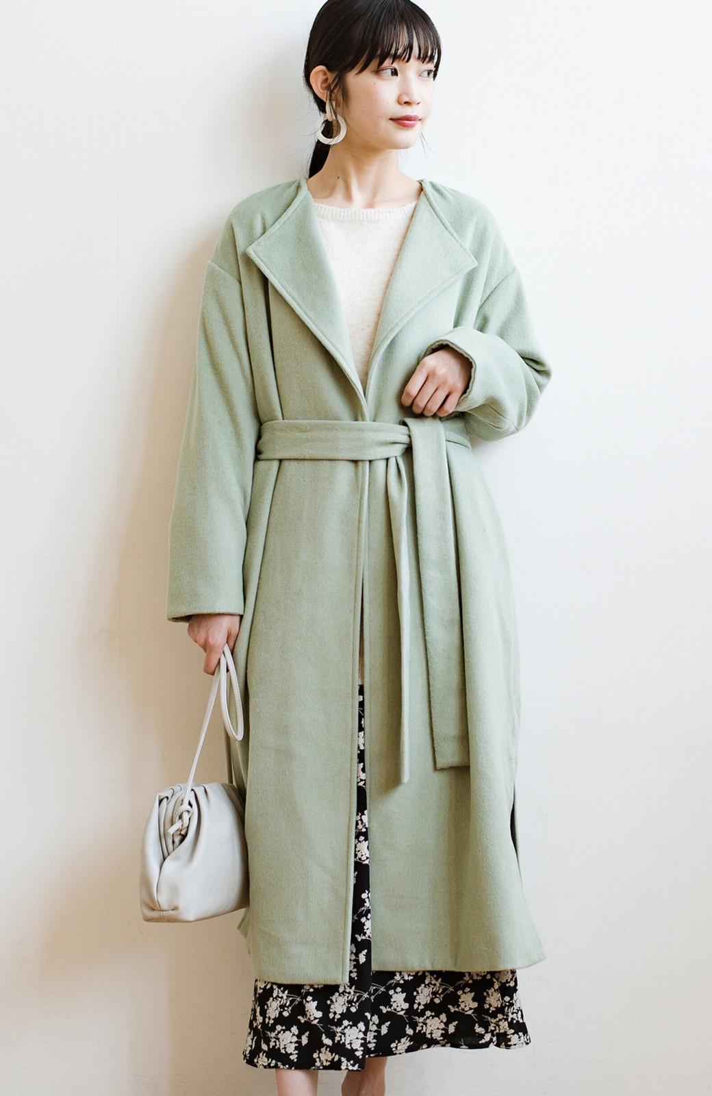 haco! 冬の地味コーデ脱出! さっと羽織って女っぽいきれい色ガウンコート <ミント>の商品写真1