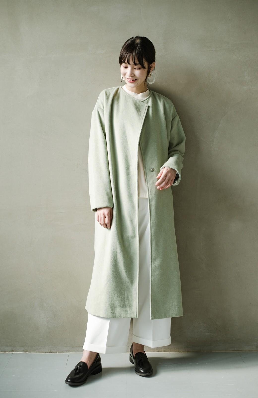 haco! 冬の地味コーデ脱出! さっと羽織って女っぽいきれい色ガウンコート <ミント>の商品写真14