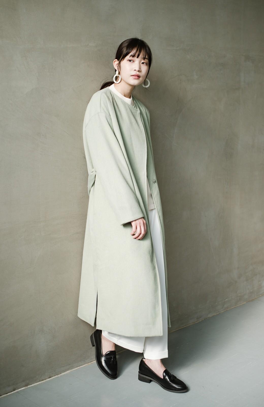 haco! 冬の地味コーデ脱出! さっと羽織って女っぽいきれい色ガウンコート <ミント>の商品写真15