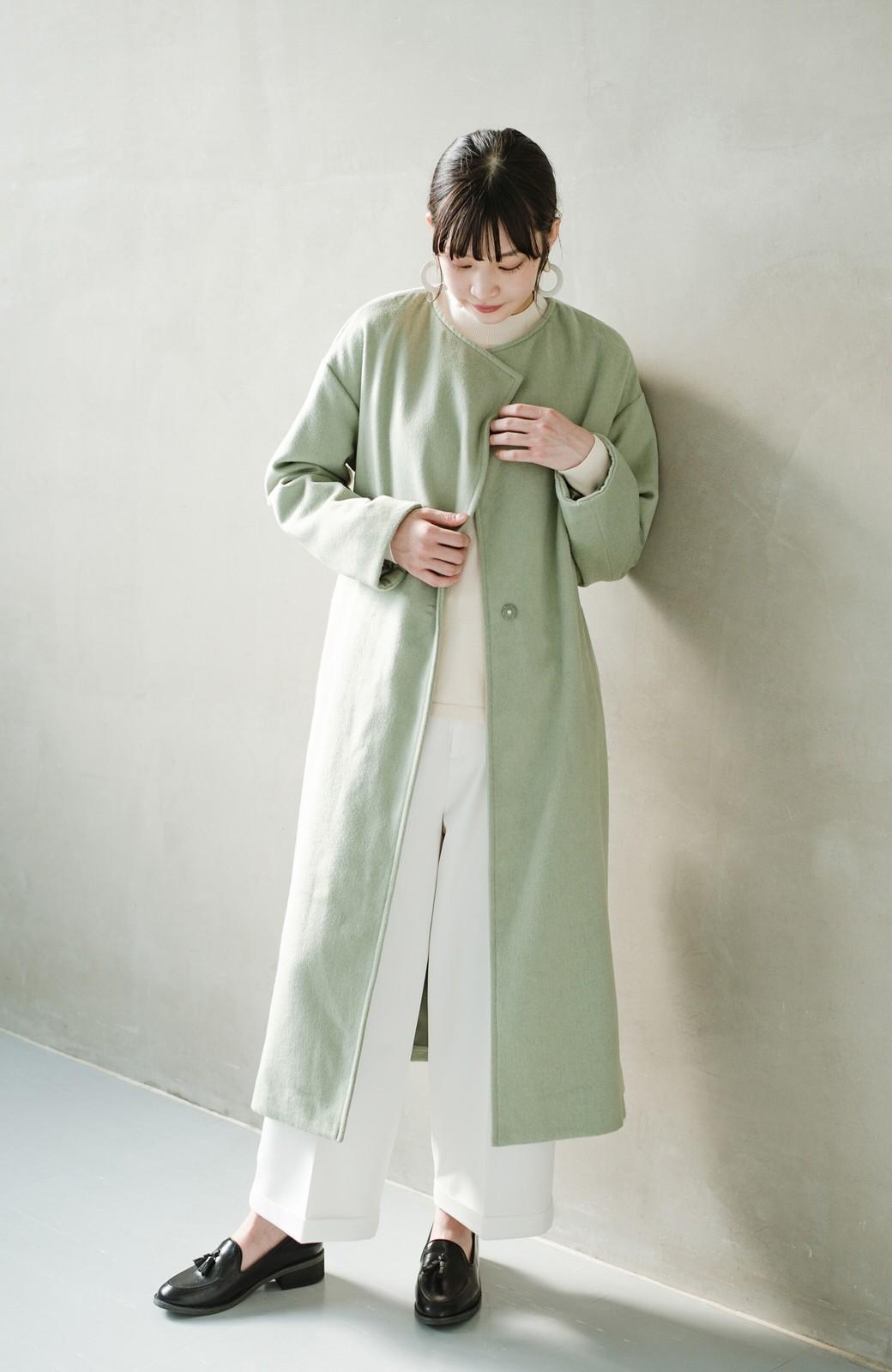 haco! 冬の地味コーデ脱出! さっと羽織って女っぽいきれい色ガウンコート <ミント>の商品写真11