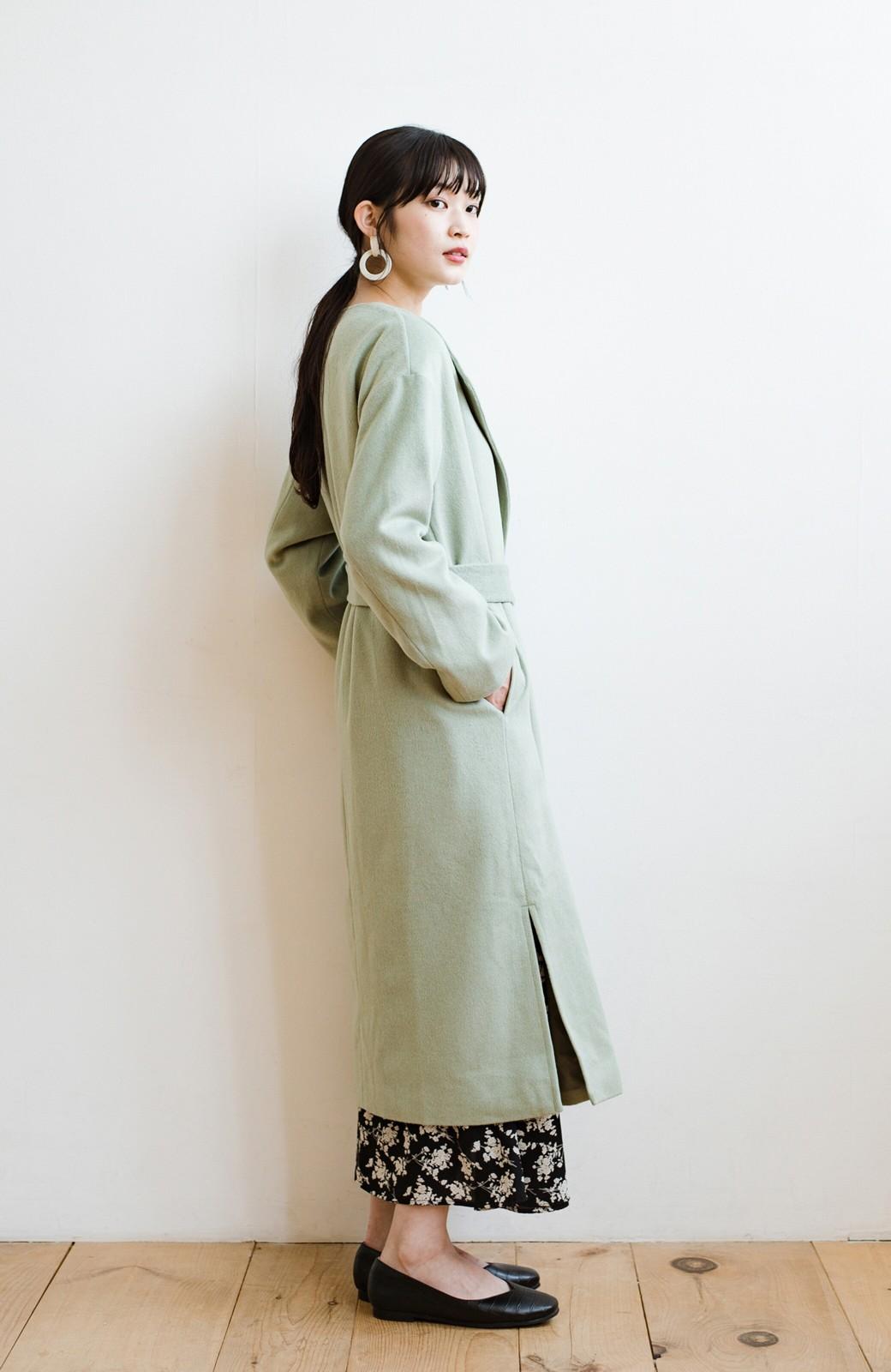 haco! 冬の地味コーデ脱出! さっと羽織って女っぽいきれい色ガウンコート <ミント>の商品写真16